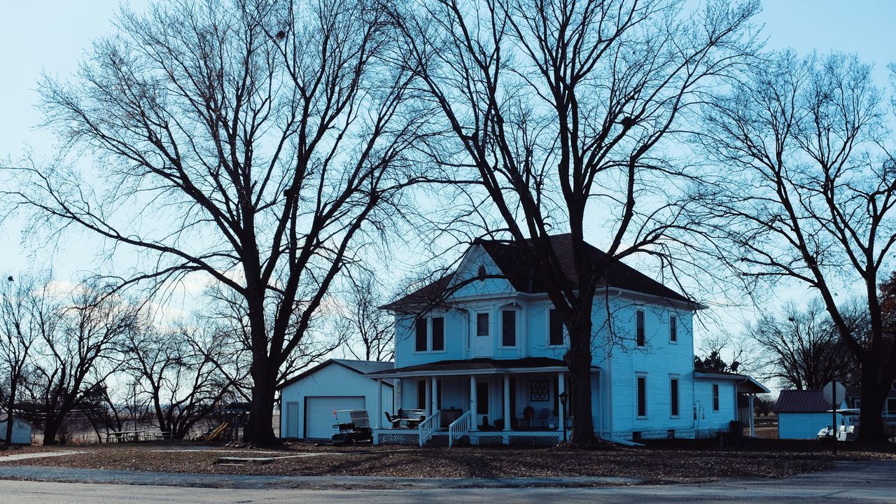 """""""Cerulean Blue"""" - Fresh painted house village of Western, Nebraska November 2015 Architecture Autumn Blue Blue Sky Cerulean Blue Color Photography Contrast Daylight Fujifilm FUJIFILM X-T1 Home House Meet My Neighbors My Neighborhood Nebraska No People Old House Outside Sky Small Town The Purist (no Edit, No Filter) Trees What I Saw"""