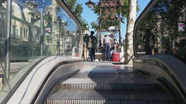 Escalator Subway Metro Commute Travel Undergroundstation La Rambla Barcelona On The Way