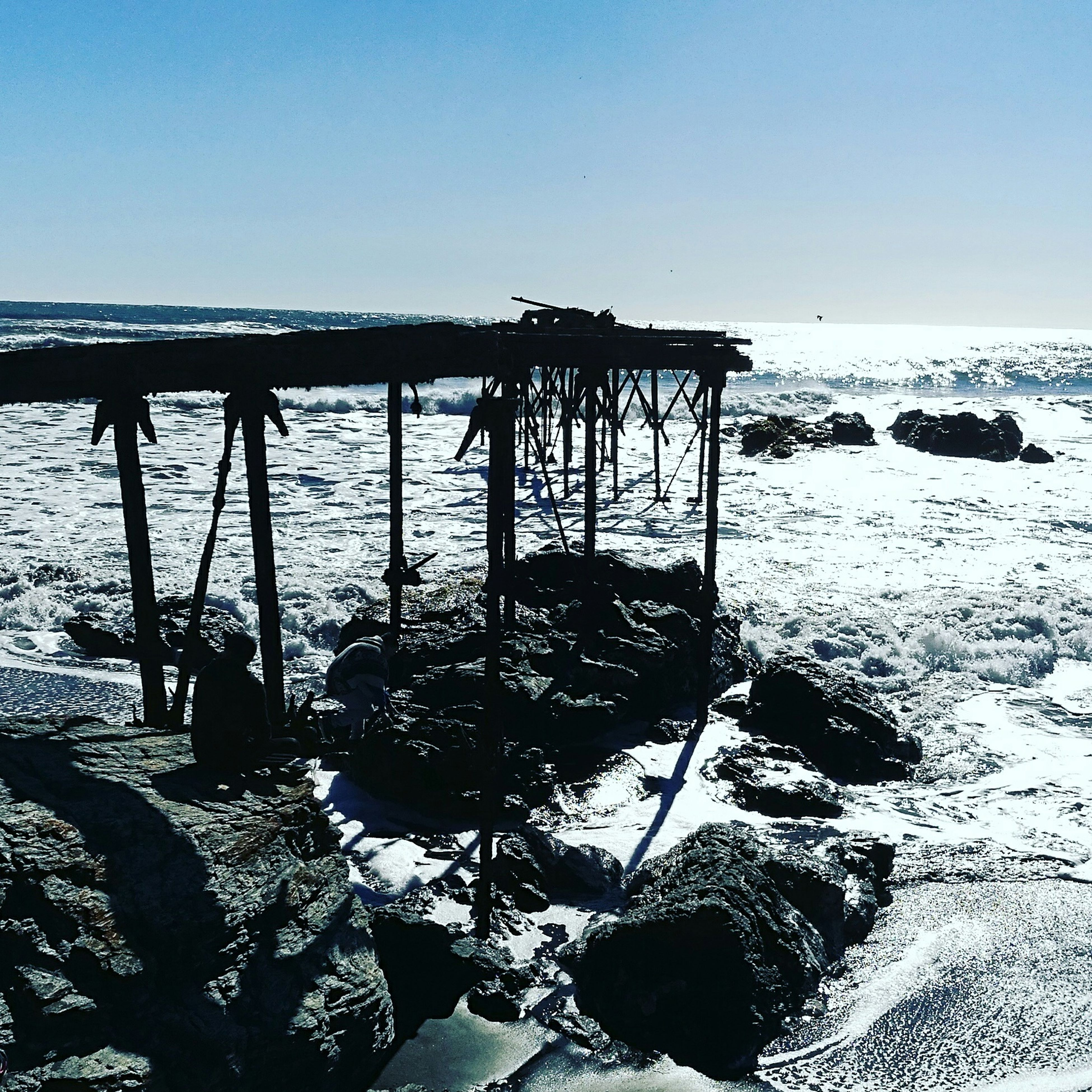 sea, water, beach, rock - object, tranquil scene, nature, beauty in nature, tranquility, outdoors, clear sky, no people, scenics, day, horizon over water, sunlight, sky