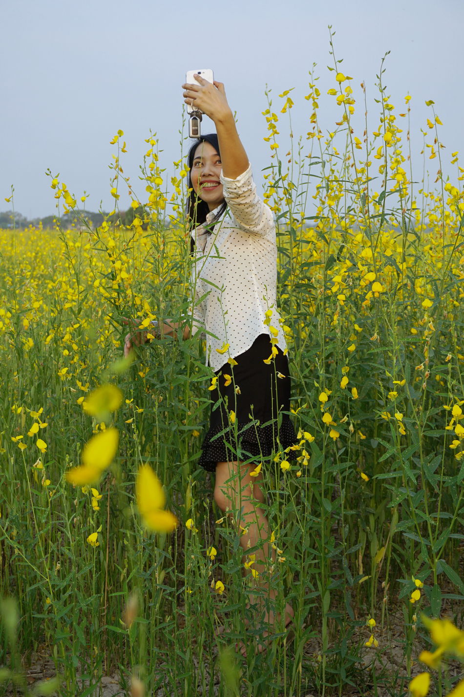 Adults Only Beauty In Nature Flower Happiness Landscape Nature One Woman Only Rural Scene Smiling