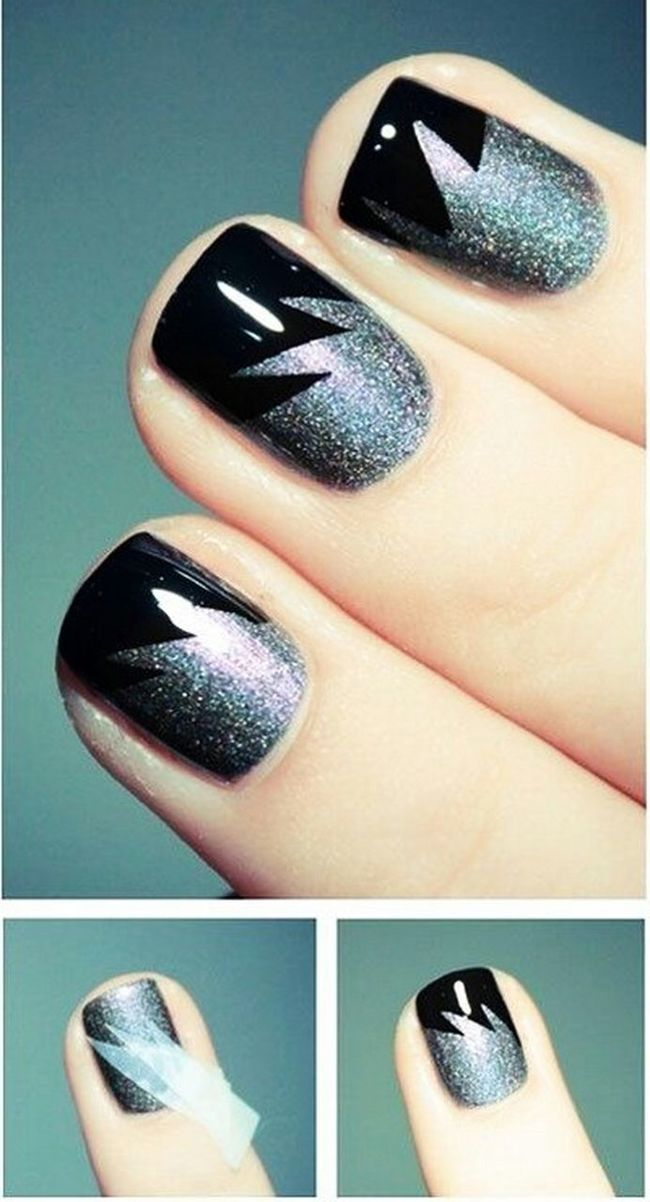 ROCK the night with your metallic nails. SUPER easy with tape Friday Nails DIY Jojobeautytips Handmade Beauty How To Make Check This Out Trendy Tips