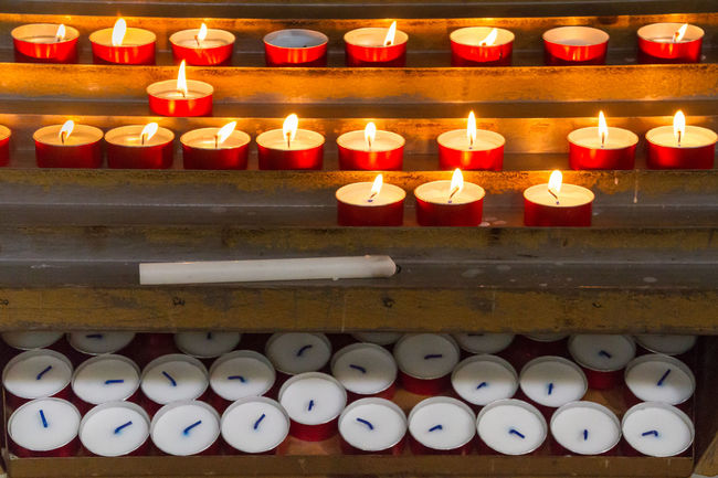 Church Candles Burning Candles Catholicism Church Flame Flames Horizontal In A Row Indoors  Lit No People Place Of Worship Prayers Religion Spirituality Tea Lights Tradition