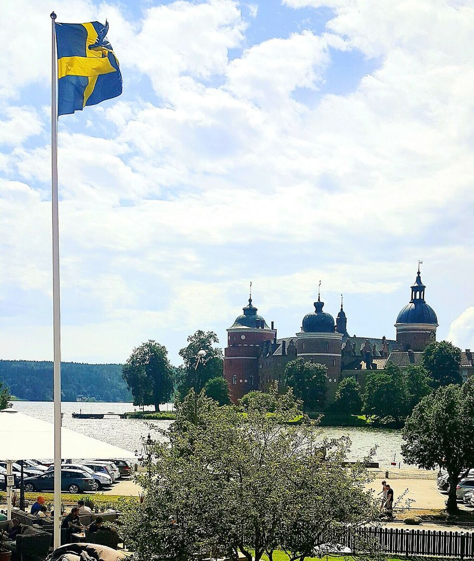 Sky Outdoors Tree Day Gripsholm Sweden Gripsholmsslott Castle Swedish Flag Sea Sea And Sky View History Vacations Tourism Destination Travel Destinations Mariefred Historical Site