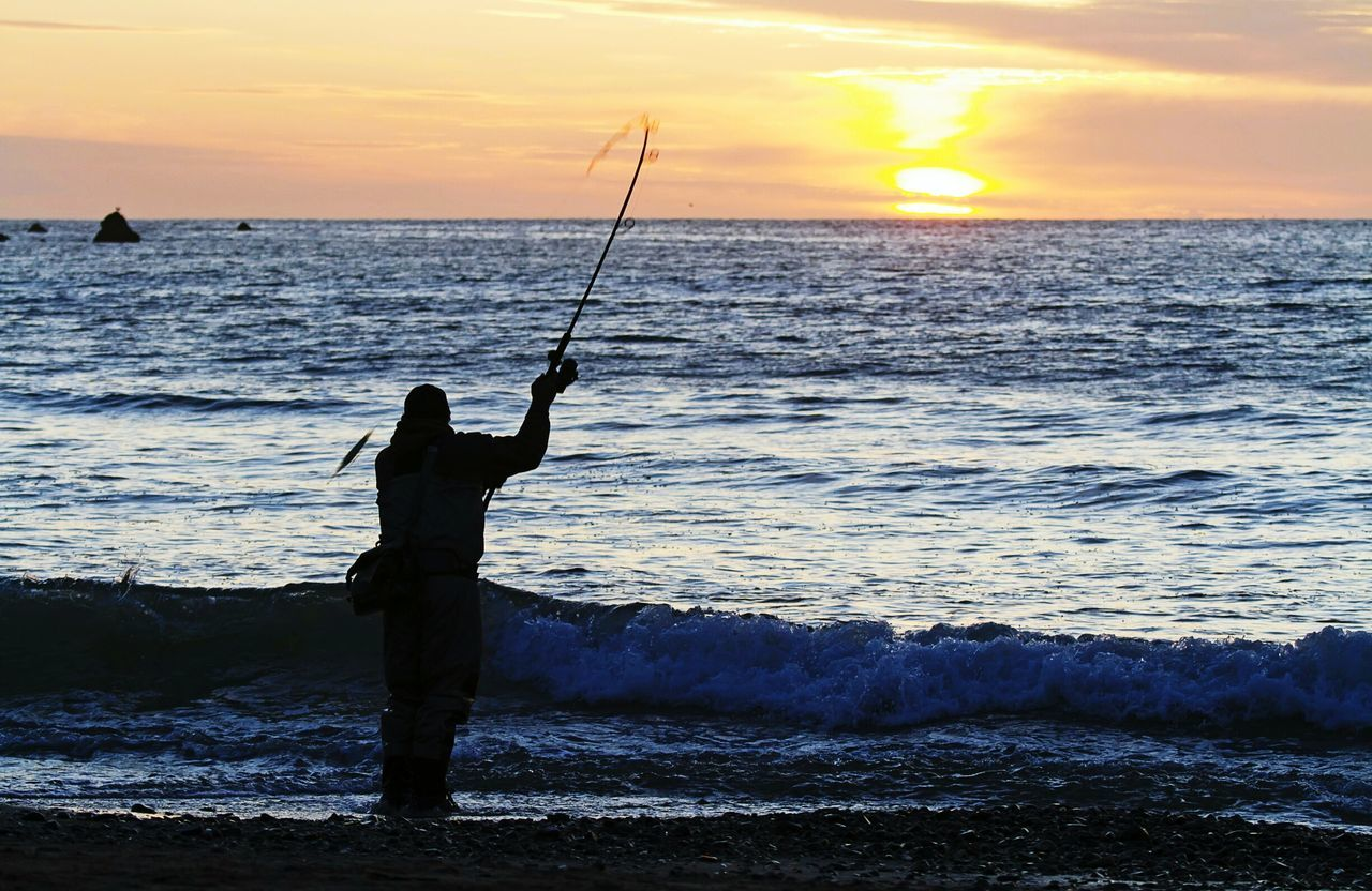 Angler, Fisher, Fisheries Worker, Fishermen, Job, Work, Fishing Stands At Sea Sea And Sky Wave A Lone Shadow Man