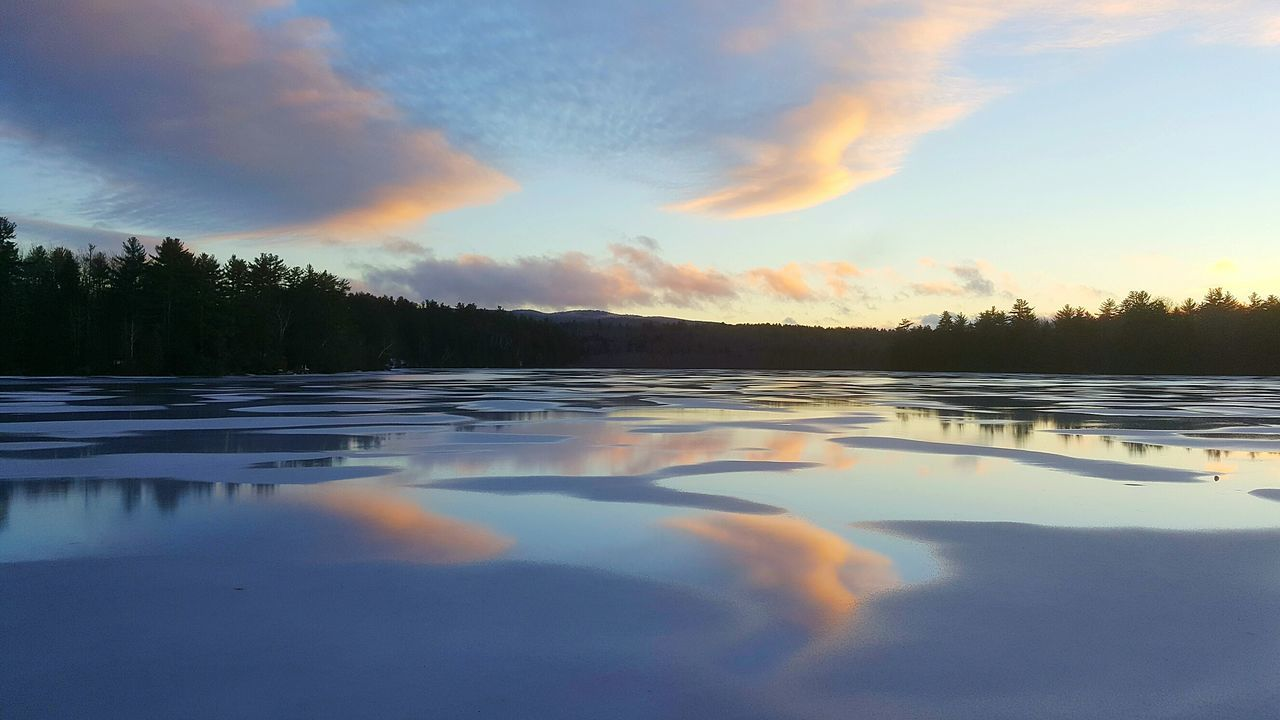 Reflection Sunset Nature Landscape Beauty No People Tree Water Sky Lake Wilderness Outdoors Beauty In Nature Tranquility From My Point Of View Scenics Maine Photography 🌲 My Lake My Back Yard Cloud - Sky Cold Temperature Environment My Home Winteriscoming Maine Outdoors