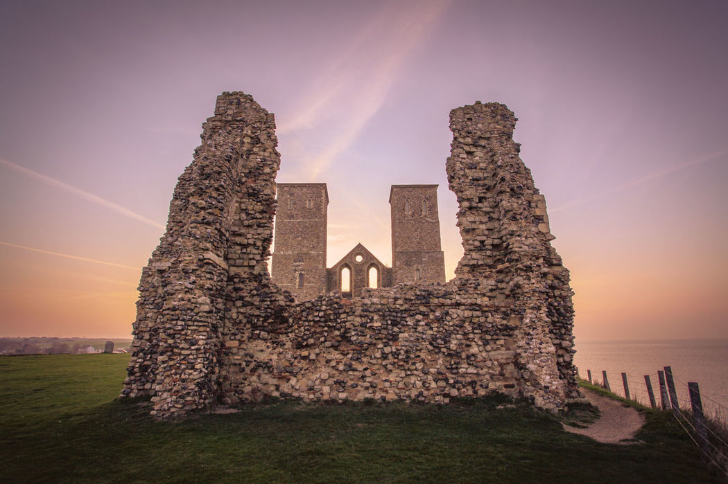 Reculver Towers Architecture Beauty In Nature Building Exterior Built Structure Castle Church Cloud - Sky Grass History Horizon Over Water Nature Reculver Rock - Object Scenics Sea Sky Sun Sunlight Sunset Towers Tranquil Scene Tranquility Water