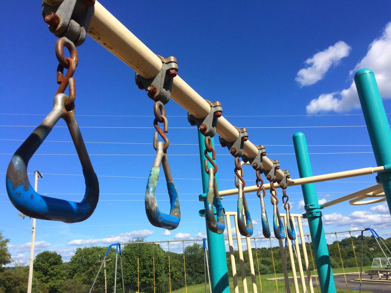 Playground Playground Structure Playgrounds Playground Equipment Fun Kids Toys Yellow Blue Play Ground Play Playground Chains Chain Bars Pipe Shapes Monkey Bars Sky Sky And Clouds Clouds Clouds And Sky Metal