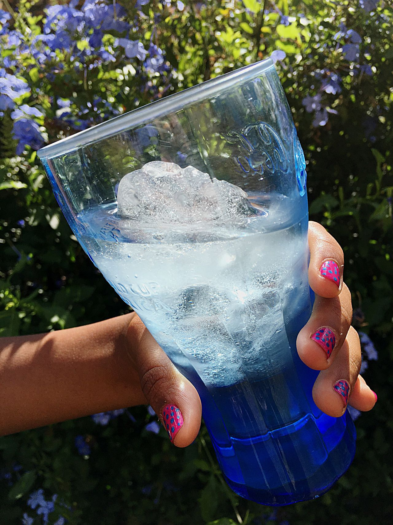 Iced Water Refreshing Water Drinking Glass Blue Glass Pretty Nails Refreshing :) Sunny Garden