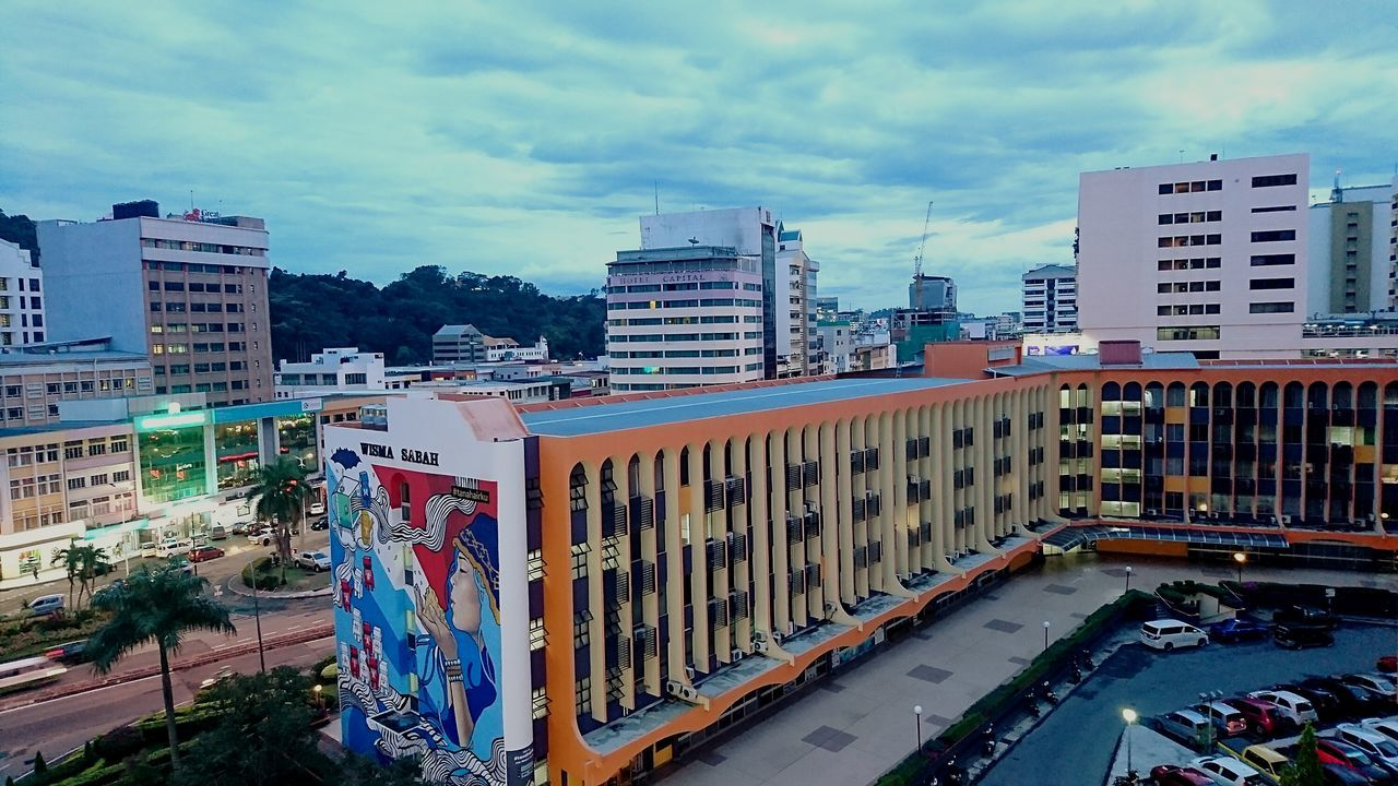 Urban Skyline City Cityscape Building Exterior Skyscraper Cloud - Sky Architecture Sky Xperiaphotography Sabah Malaysia Adapted To The City Xperia XZ Photography Sabah Below The Wind