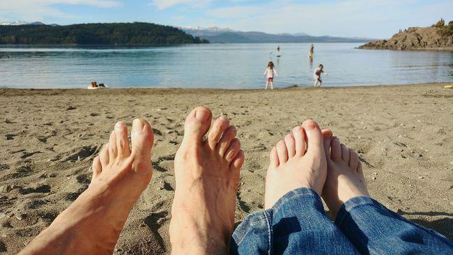 Nahuel Huapi Lake Lago Couple Feets Together Our Feets Sand Beach Water Scenics