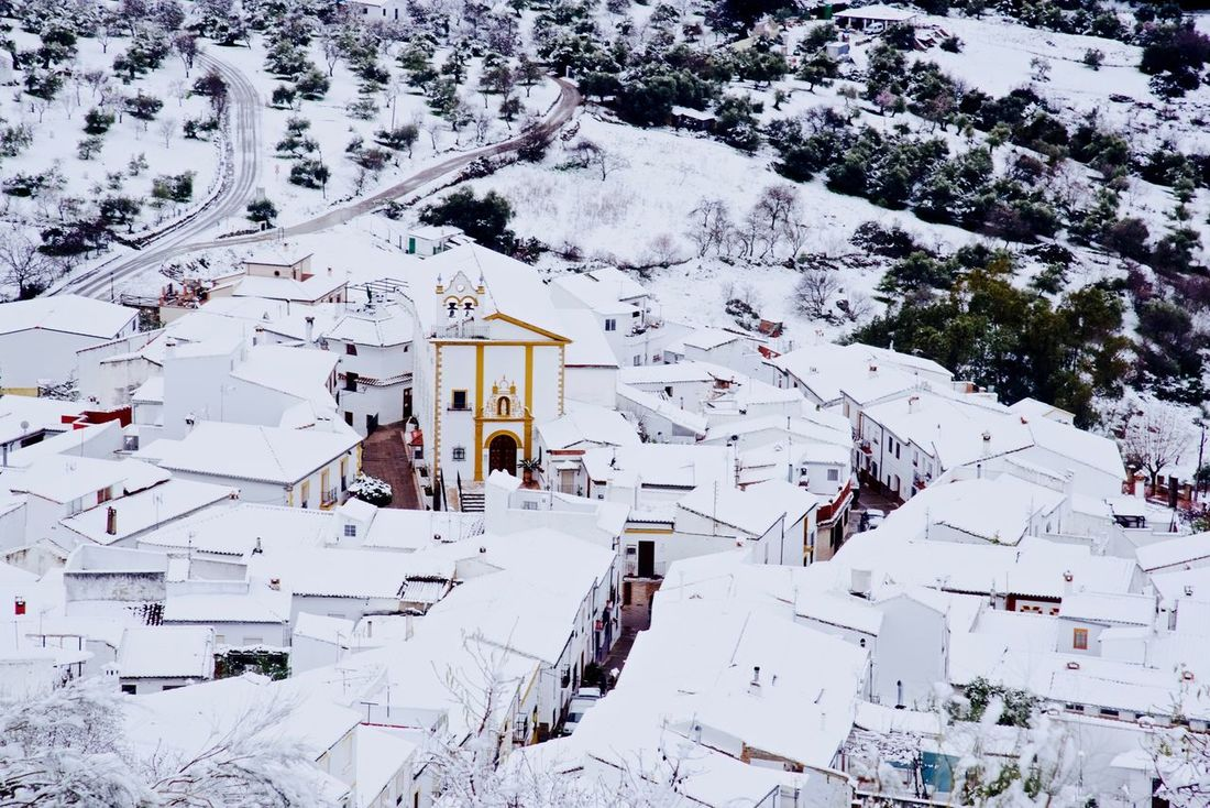 Winter in the Sierras. Pueblo Blanco Andalucia Spain Architecture Beauty In Nature Building Exterior Built Structure Cold Temperature Day Guadario Vale House Jimera De Libar Mountain Nature No People Outdoors Ski Holiday Snow Travel Destinations Tree White Color Winter