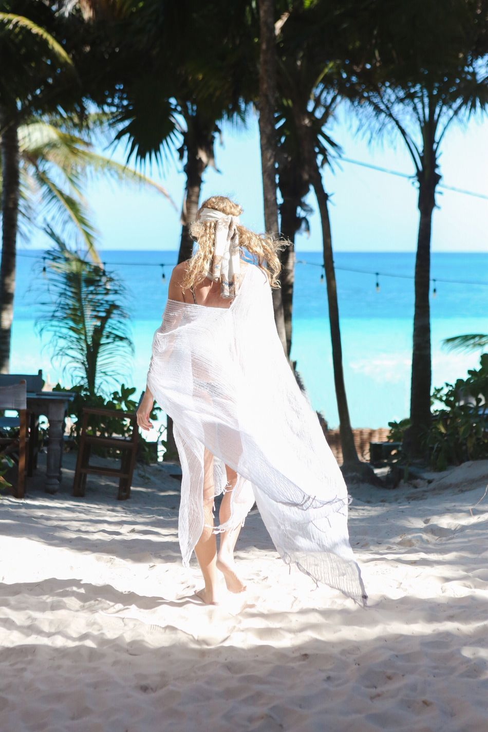 Beach Sea Sand Full Length Horizon Over Water One Person Lifestyles Outdoors Women Vacation Palm Tree Mexico