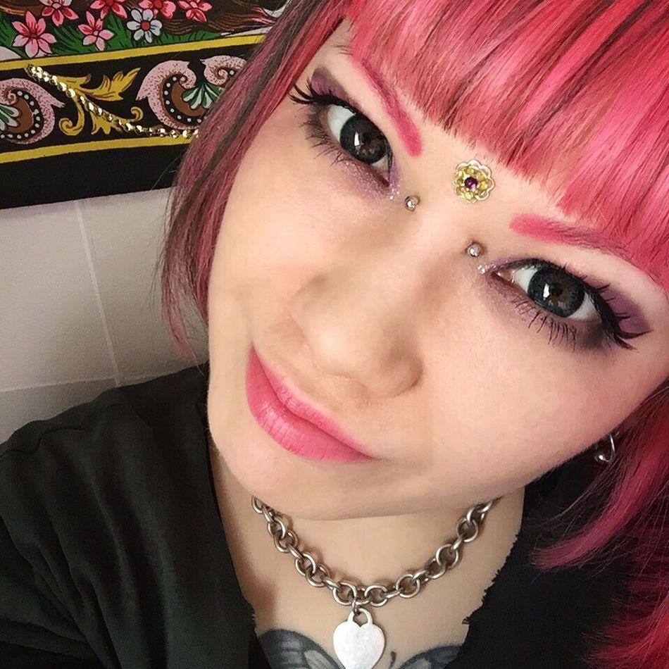 Bindi Bridge Bodypiercing Piercing Eyes Augen Flower Selfie ✌ Selfportrait Pink Pink Color Pinkhair Manicpanic ThatsMe Purple Tiffany&Co. Necklace Silver  925