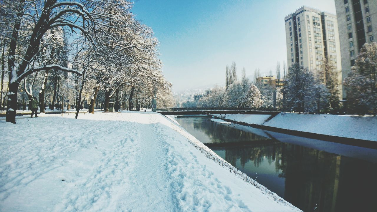 Snow Day At park In Sarajevo Snow Tree Cold Temperature Winter No People Sky Outdoors Day City Nature Water Architecture