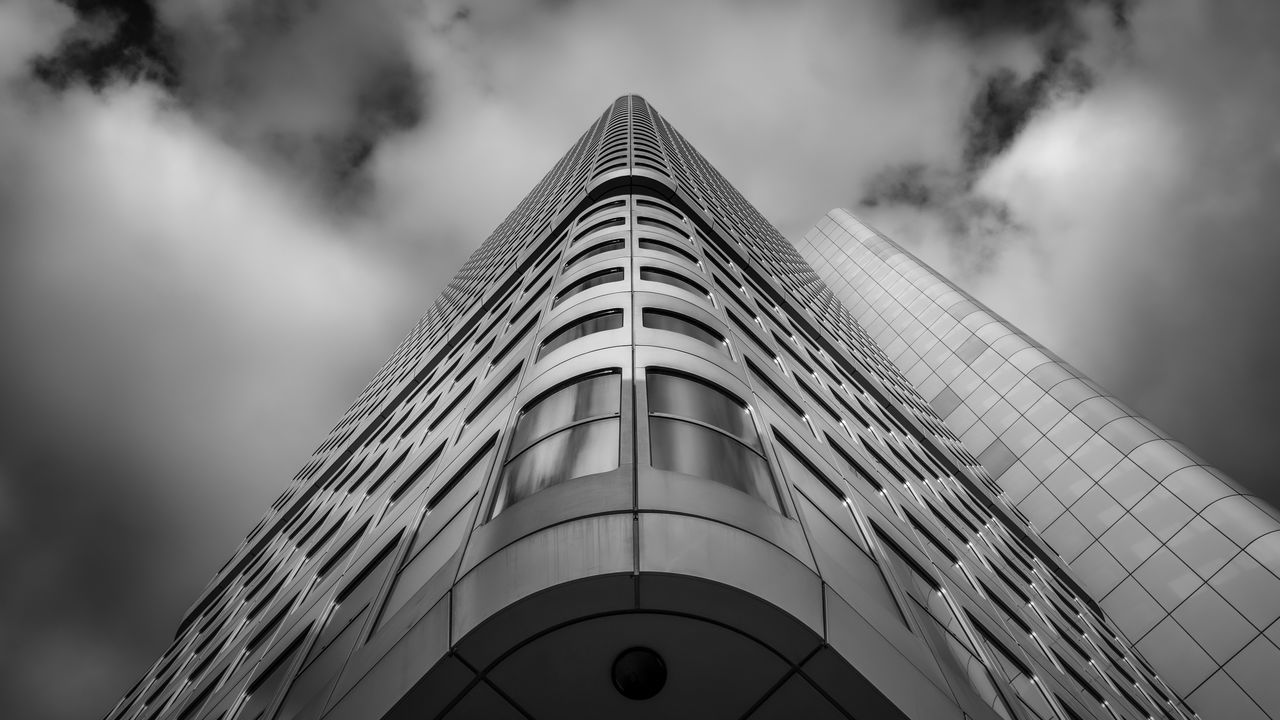 Silver Tower | #SPBLOG Architecture Building Exterior Built Structure City Cloud - Sky EyeEm Best Edits EyeEm Best Shots EyeEm Best Shots - Black + White Low Angle View Modern No People Sky Skyscraper Tower The Architect - 2017 EyeEm Awards
