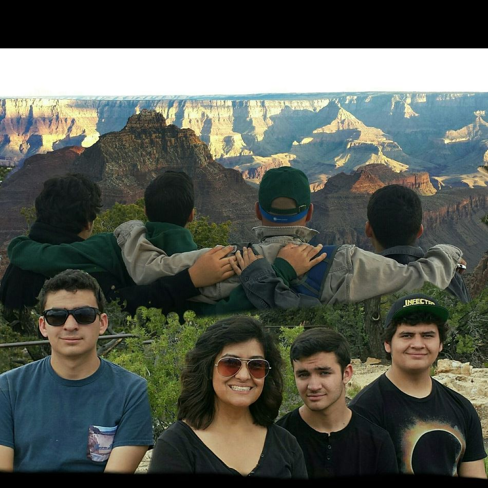First attemp on Double Exposure Grand Canyon , Cape Royal , Mom Dad & Boys , Taking Photos Enjoying Life Hello World Nature. Our Boys