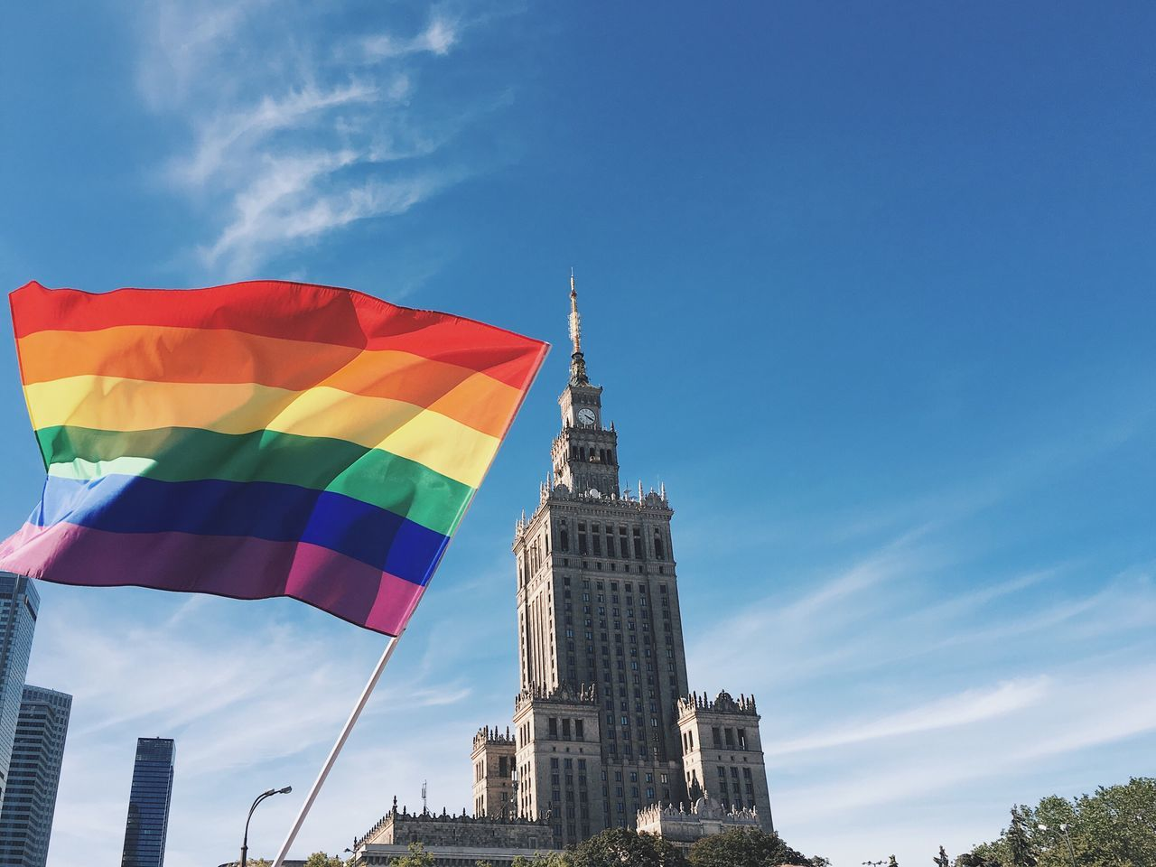 Flag Architecture Sky Built Structure Building Exterior Day Multi Colored Low Angle View Cloud - Sky Outdoors No People Blue City Gay Pride Warsaw