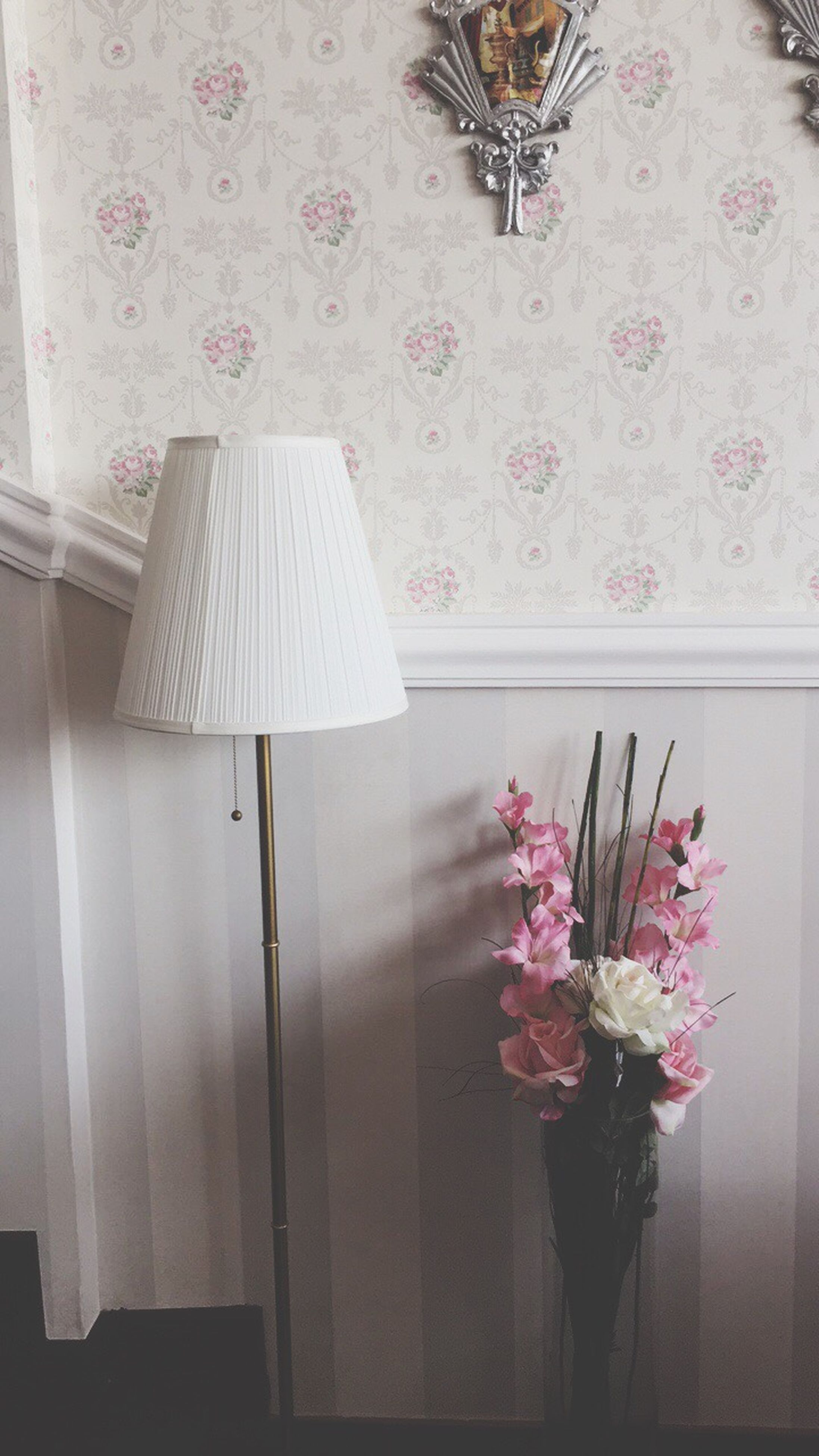 indoors, floral pattern, curtain, no people, flower, lamp shade, home interior, bedroom, tranquility, floor lamp, home showcase interior, day, side table, clock