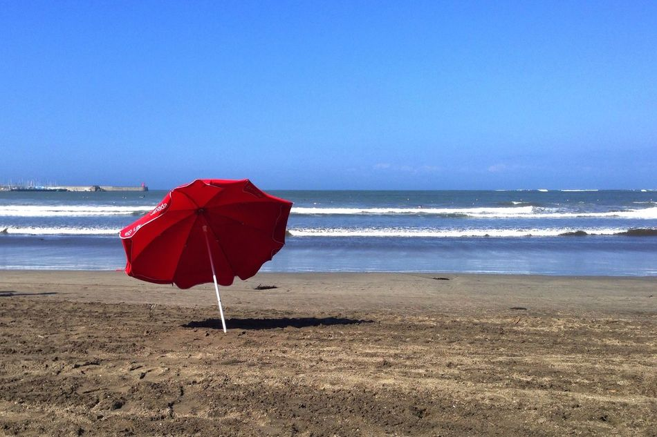 Beautiful stock photos of red, Beach, Beach Umbrella, Beauty In Nature, Blue