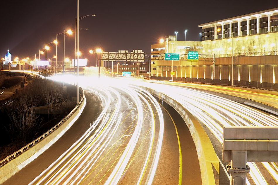 City Downtown District Light Trail Motion Night Speed Traffic Transportation Hartford Ct  Long Exposure EyeEmNewHere