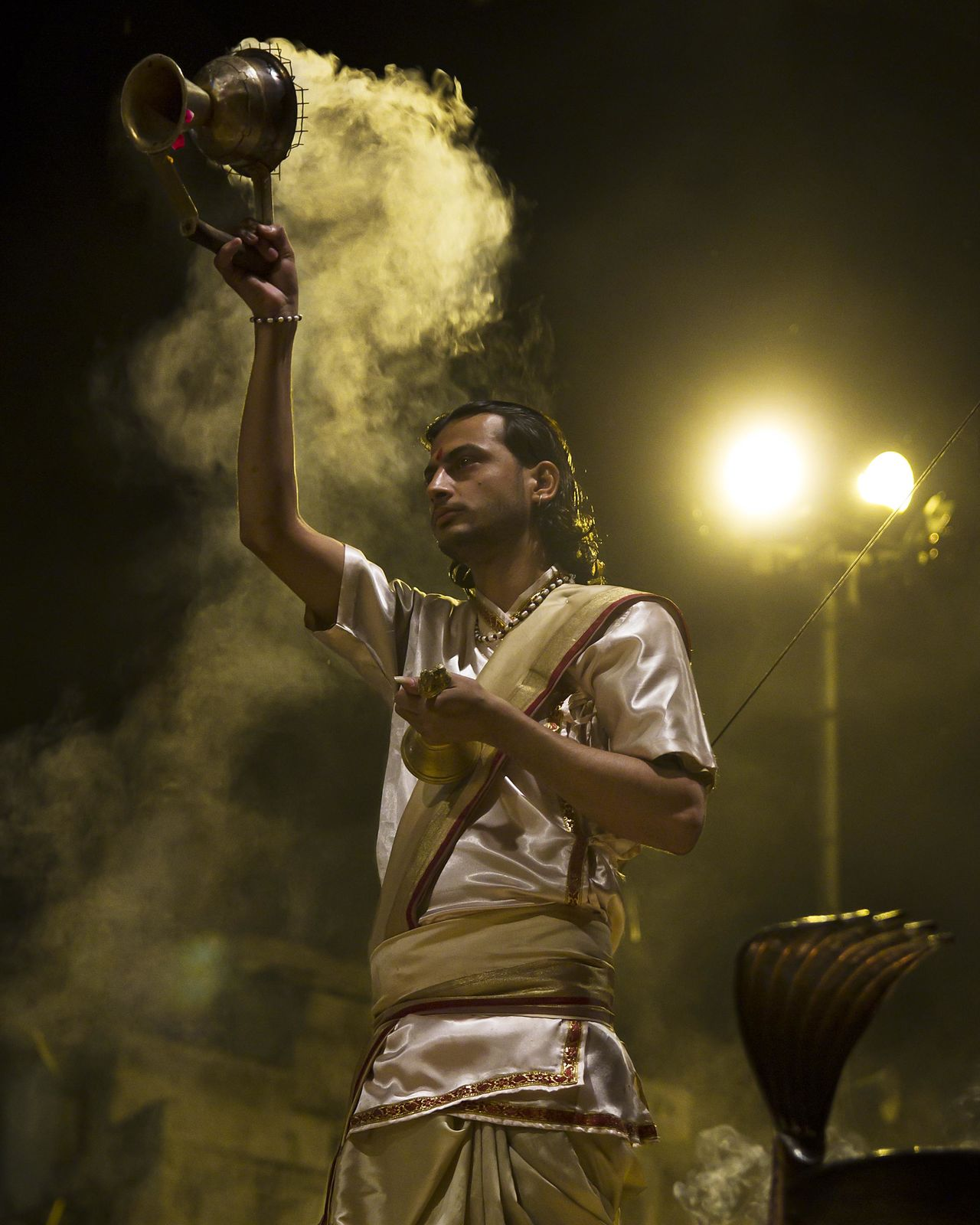 Ceremony India Night One Person Performance Real People Smoke - Physical Structure Spirituality Travel Varanasi
