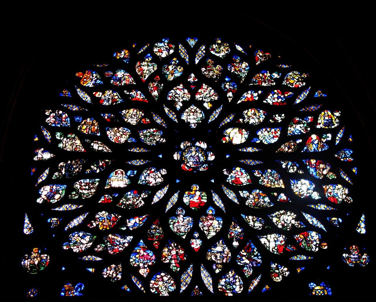 stained glass, multi colored, window, indoors, pattern, no people, architecture, low angle view, day