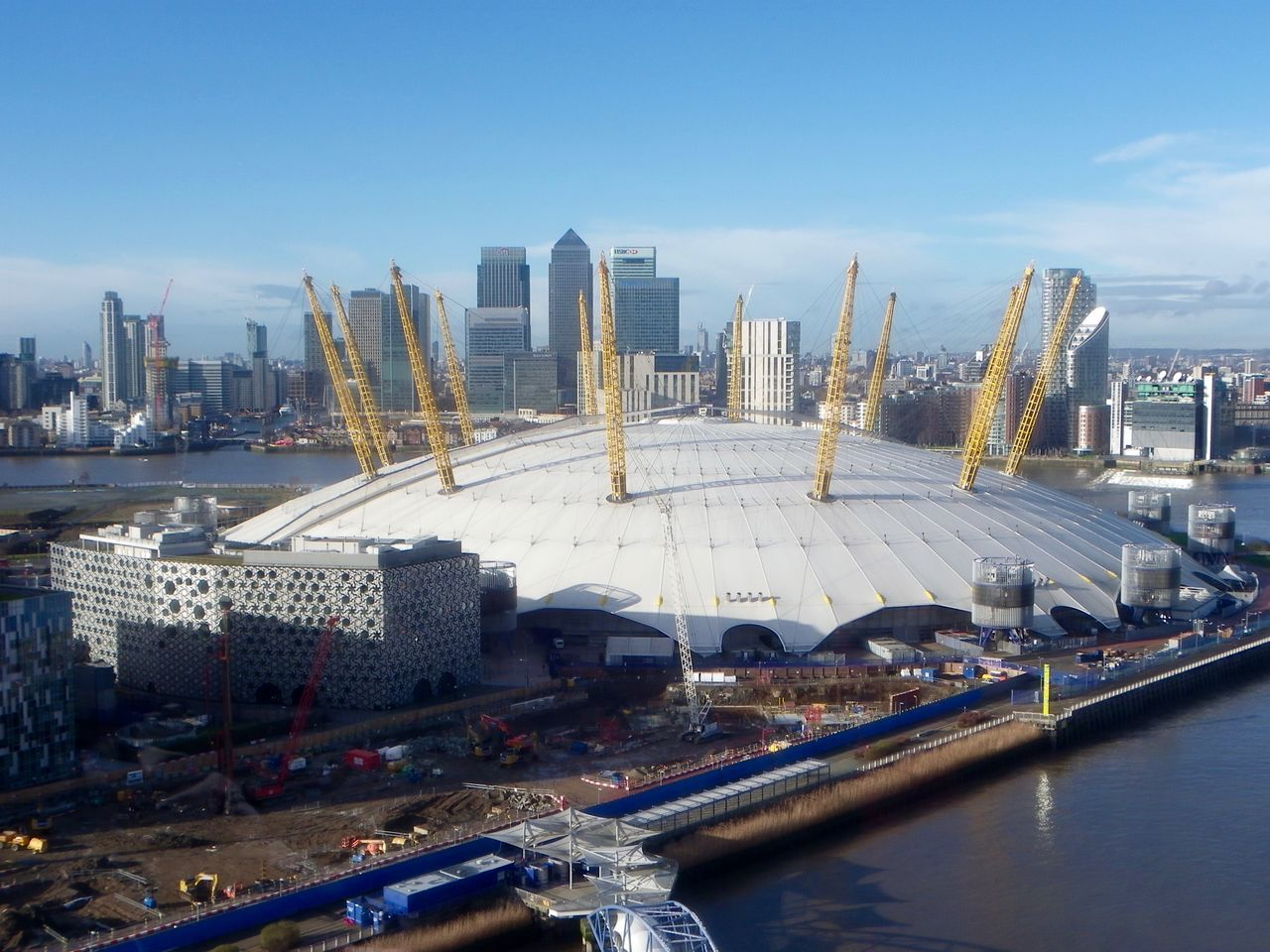 the O2 from the cable car Building Exterior Built Structure City Cityscape Day Dome High Angle View Modern No People O2 Arena Outdoors River Thames Tourism Travel Travel Destinations Urban Skyline