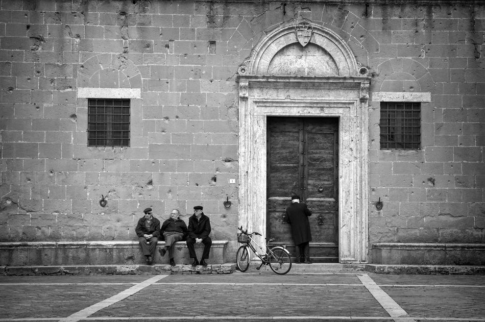 Italian lifestyle Architecture Black & White Brick Wall Building Exterior Church Day Door Elders Entrance Exterior Historic History House Men Narrow Old Old But Awesome Outdoors People Pienza (toscana) Preast Religion Streetphotography Togetherness Wall