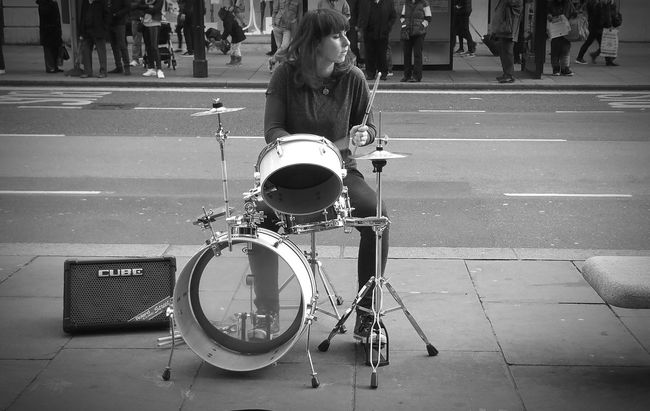The Color Of Business Monochrome Photography Women Who Inspire You Telling Stories Differently Women In Business Here Belongs To Me EyeEm Best Shots - People + Portrait Learn & Shoot: Balancing Elements Drummer Girl Inspirational Drummer Musician's Life Drumming On The Streets Playing On The Streets Black And White Bnw DrummerGirl Musician Portrait Of A Woman Inspiring People Bnw Portrait EyeEm Best Shots - Black + White London Samsung Galaxy Note 4 Samsungphotography