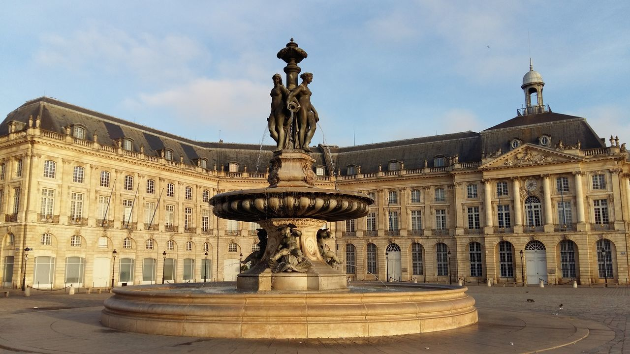 Architecture Building Exterior Statue Sculpture Façade Monument Famous Place Old Town Place De La Bourse Bordeaux Morning Sky Fountain Battle Of The Cities My Year My View The City Light