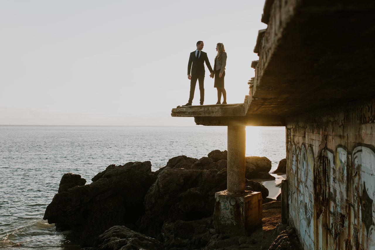Two People Full Length Togetherness Outdoors People Weddingportugal Junebugweddings VSCO City Sky Editorial  Water Sea Beauty In Nature