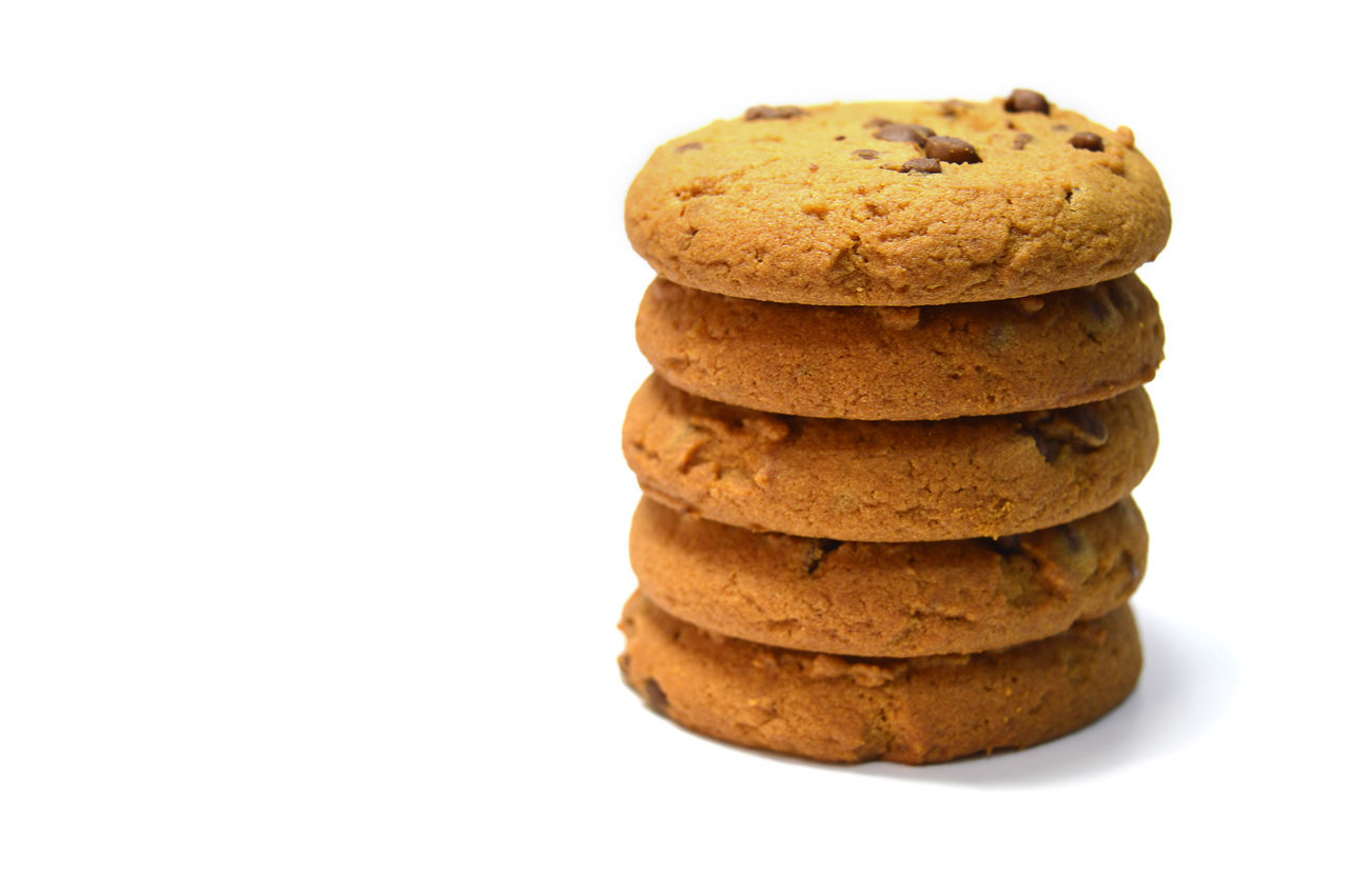 Chocolate chips cookies isolated on white Bake Biscuit Breakfast Brown Calories Close-up Cookies Delicious Dessert Food Food And Drink Fresh Freshness Handmade No People Ready-to-eat Snack Stack Studio Shot Sweet Food Temptation White Background