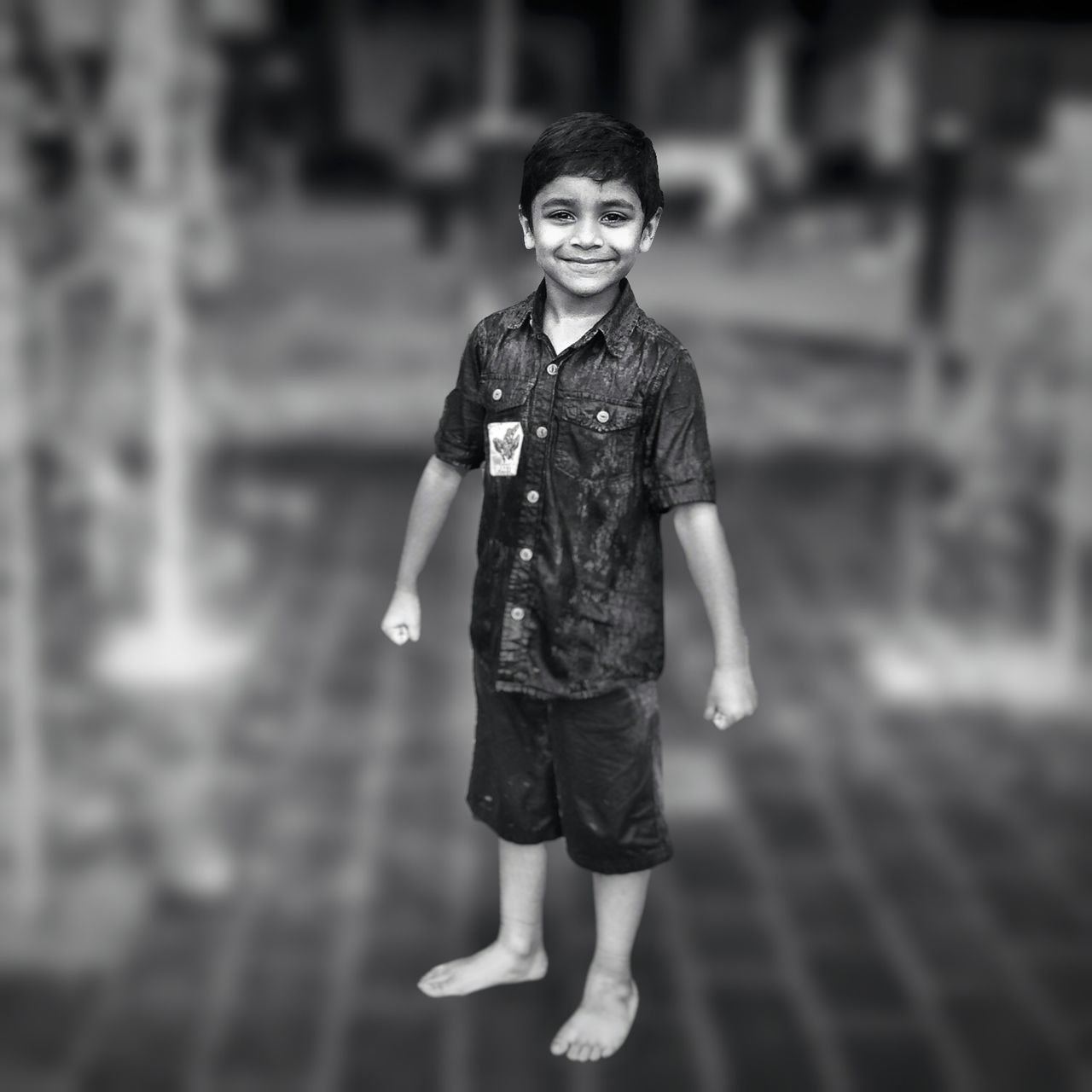 Child Childhood Full Length Looking At Camera Outdoors Smiling People Portrait Blackandwhite Joy Waterplay Asian