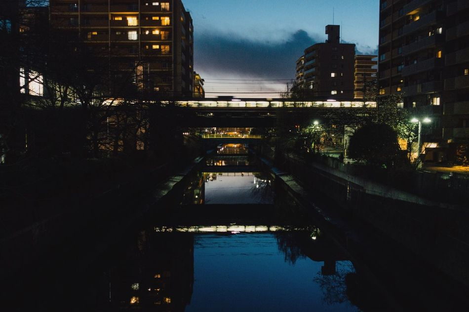 Evening Light City Cityscape River Reflection Reflection Canal Train Bridge Bridge Evening Sky No People The End Of Winter Bridge - Man Made Structure Water Reflection From My Point Of View The City Light City Street Yokohama Japan Yokohama, Japan February February 2017