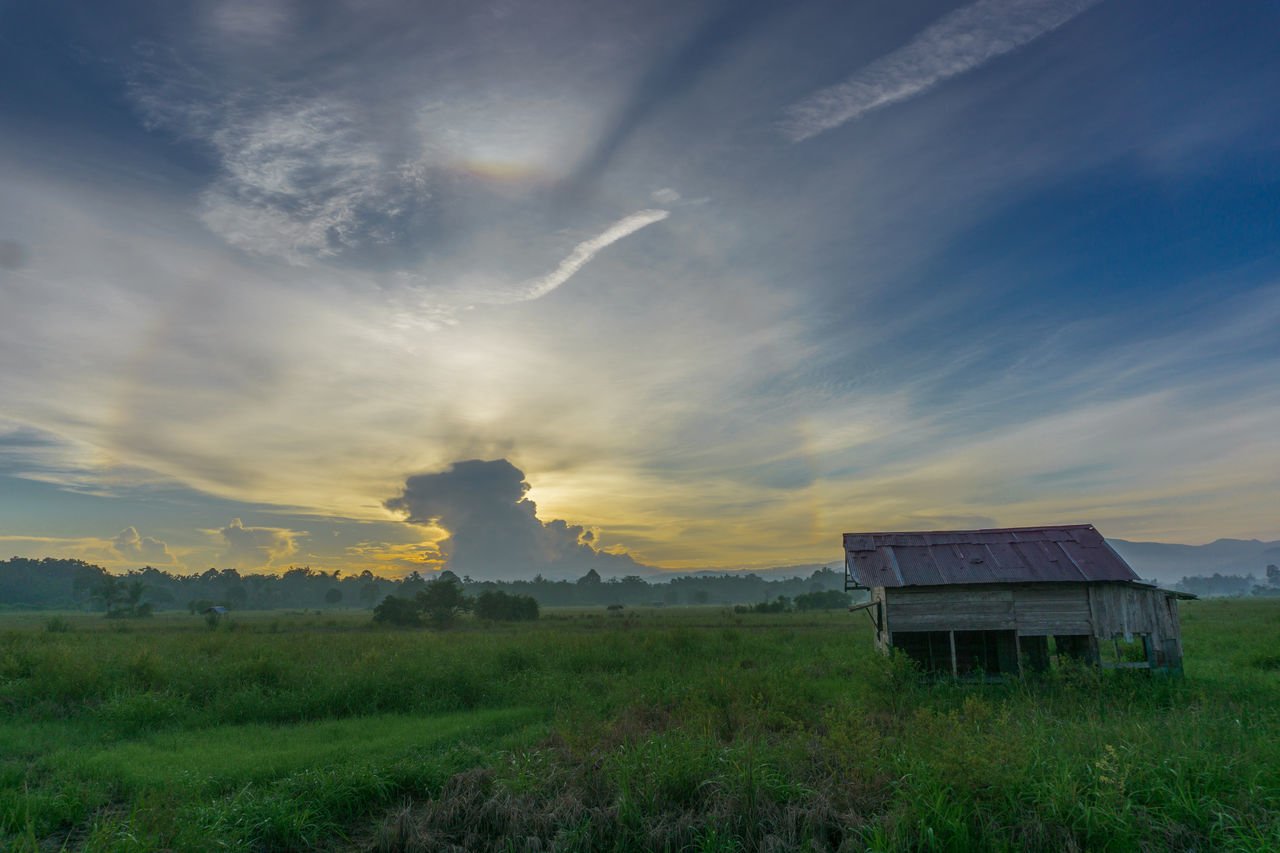morning sky Agriculture Beauty In Nature Cloud - Sky Day Dramatic Sky Field Grass House Landscape Nature No People Outdoors Rural Scene Scenics Sky Sunrise Tranquility