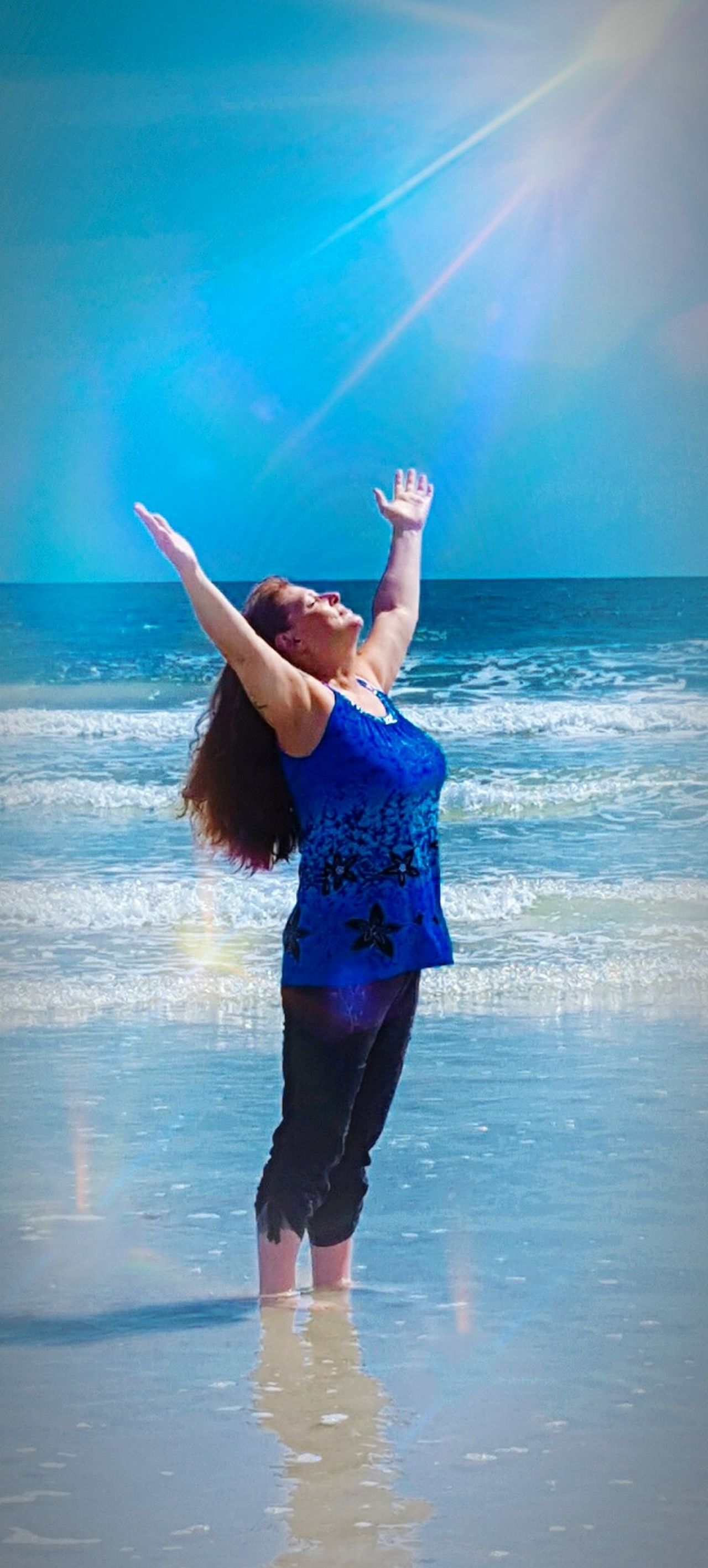 Praising The Lord Water Beach Horizon Over Water Sunlight Lens Flare Tranquil Scene Young Adult Full Length Sunbeam Summer Sun Sea Blue Vacations Sunny Long Hair Scenics Shore Sun On The Water Ocean Photography St. Augistine FL St. Augustine Beach Fl Au