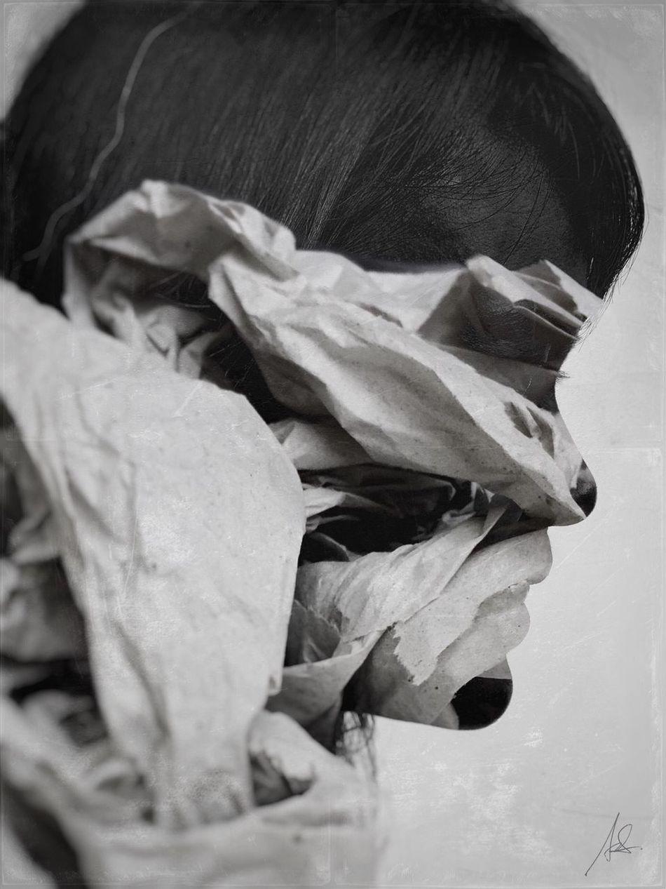 Unwrap II Close-up Series WeAreJuxt.com Monochrome Surrealism Portrait Blackandwhite IPhoneography Double Exposure