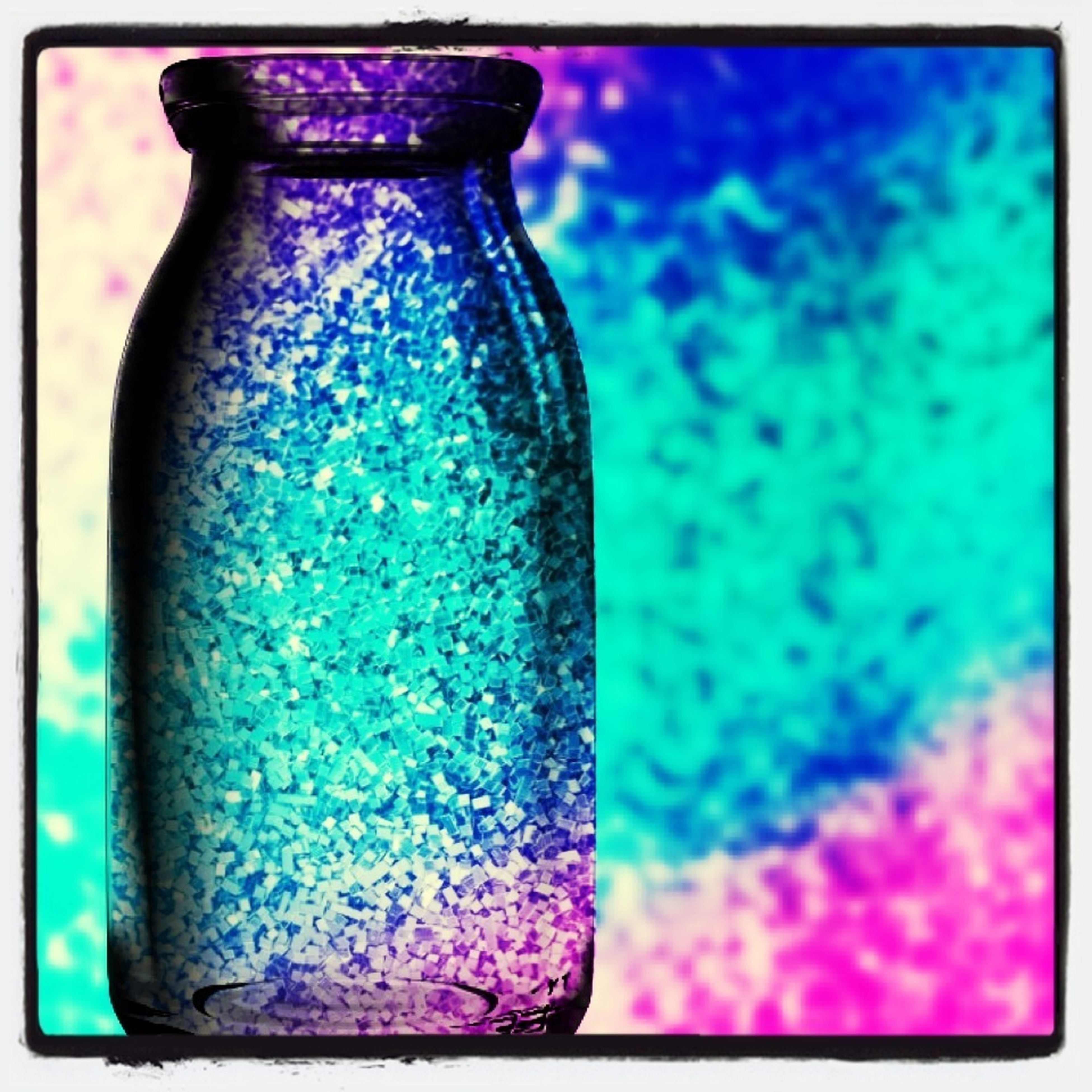 blue, transfer print, auto post production filter, close-up, indoors, purple, multi colored, still life, focus on foreground, glass - material, single object, paint, selective focus, no people, day, transparent, textured, wall - building feature, turquoise colored