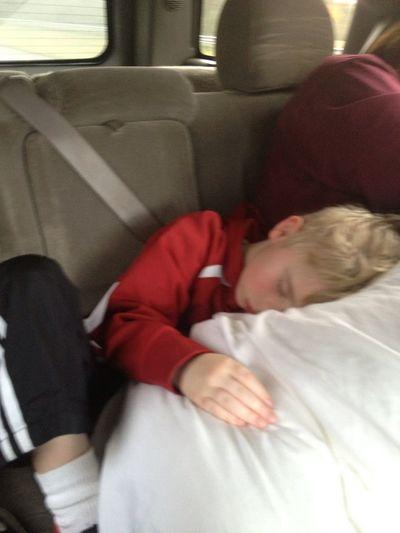 How he sleeps in the car...