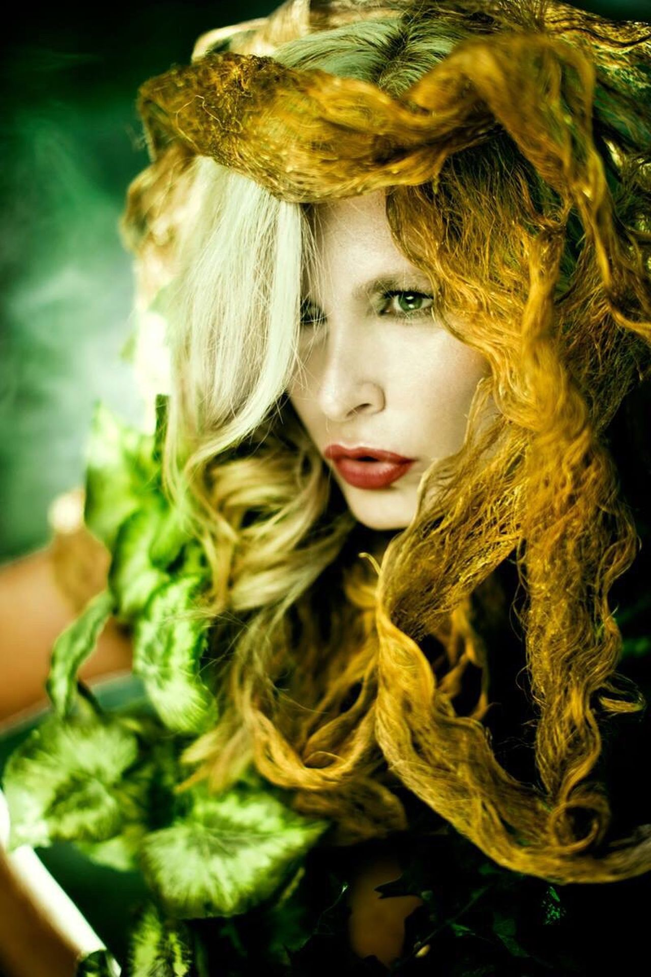Green Elf Fairytale  Fantasy Fantasy Photography Fairytales & Dreams Dream Warrior Elegance And Class Hair Genny Energy Solitude Alone Women Portrait Leafs Photography Leafs Makeup Makeupartist
