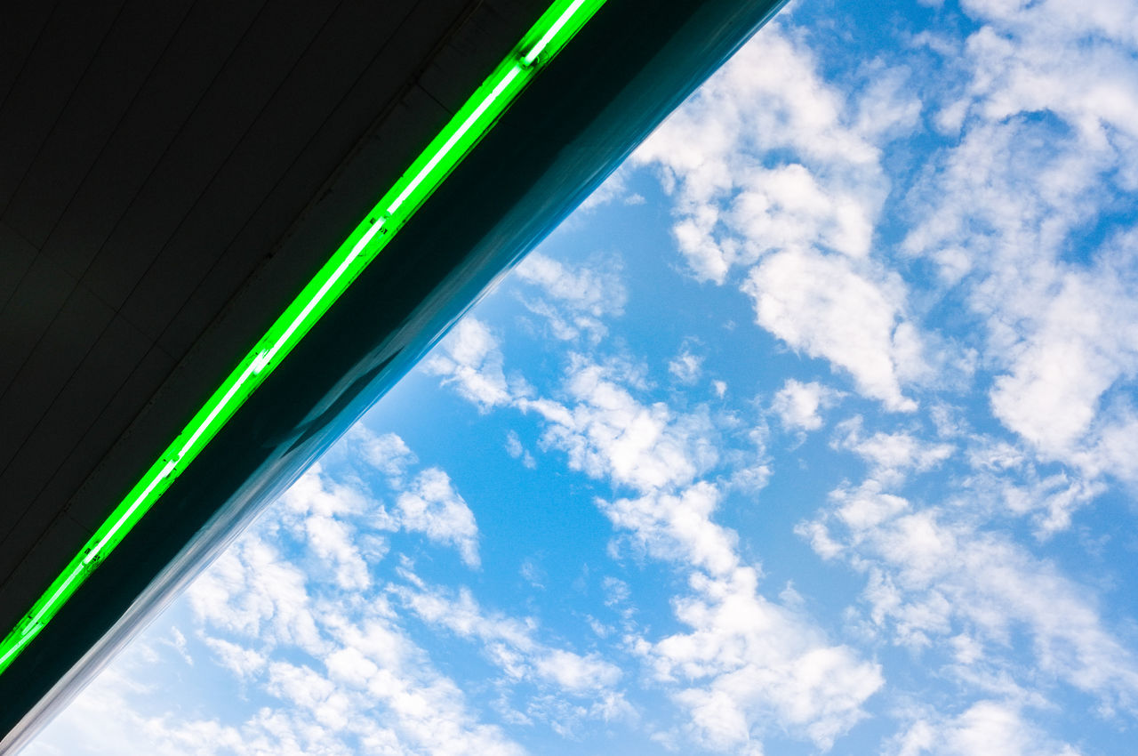 Blue Close-up Cloud - Sky Day Green Color Low Angle View No People Outdoors Sky Neon Life Looking Up Green Light Illumination Led Lights  Neon Lighting Clouds And Sky
