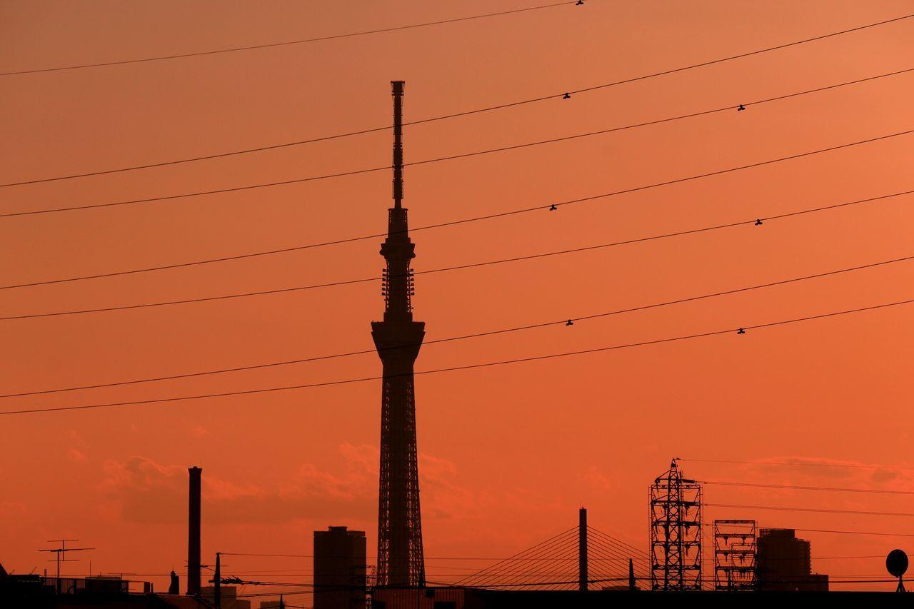 Sunset Tower Silhouette Urban Landscape Sunset Silhouettes Sunsets Japan Tokyo Sunset_collection Landscape Tokyoskytree Skytree Bridge Orangesky