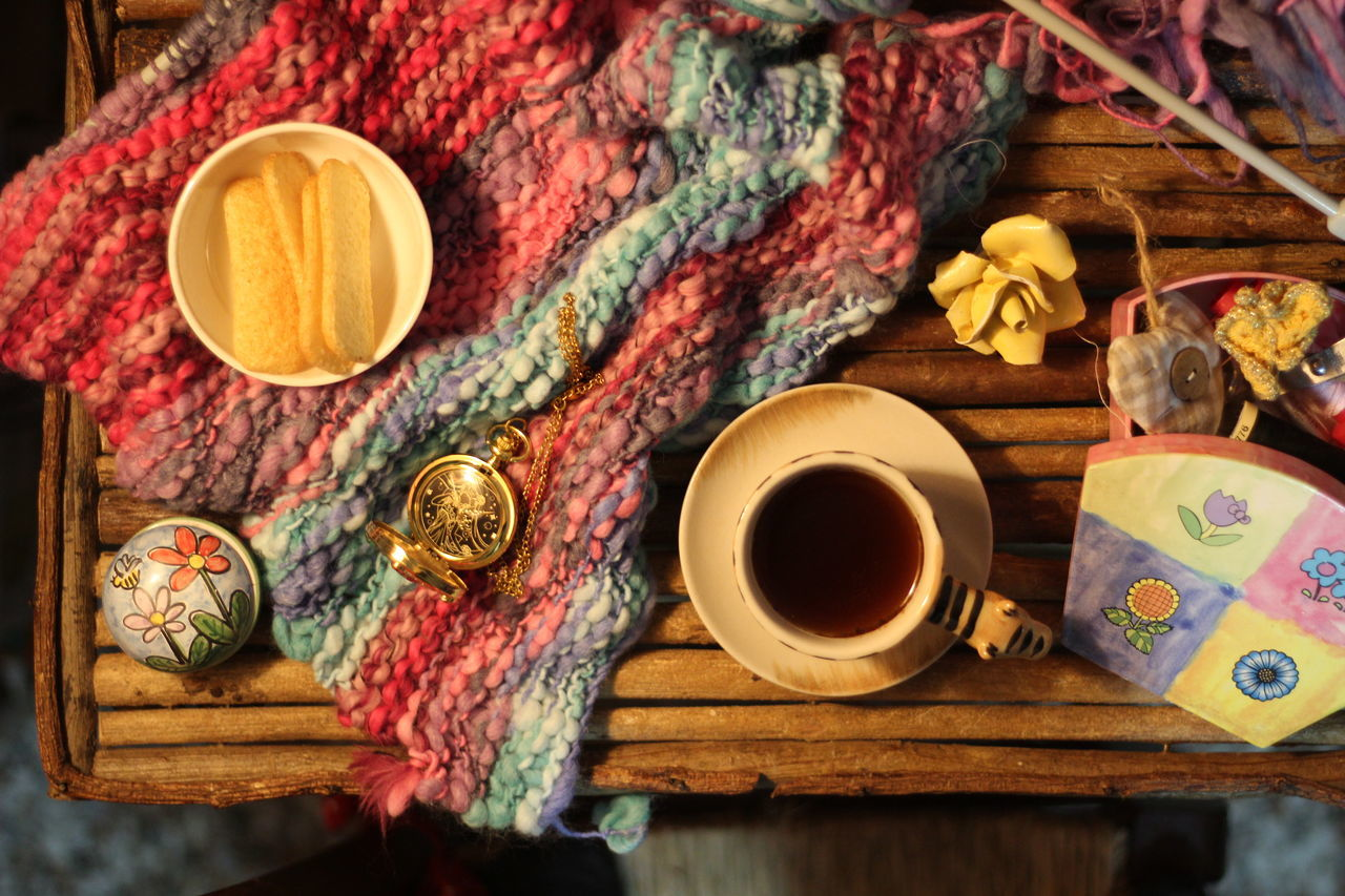 Messy table... No People Indoors  Coffee Time Pause Having A Break Knitting Scarf Making A Scarf Handmade Wooden Table Natural Wood Knit Cup Of Coffee Indoor Photo At Home Winter Time Cozy Place