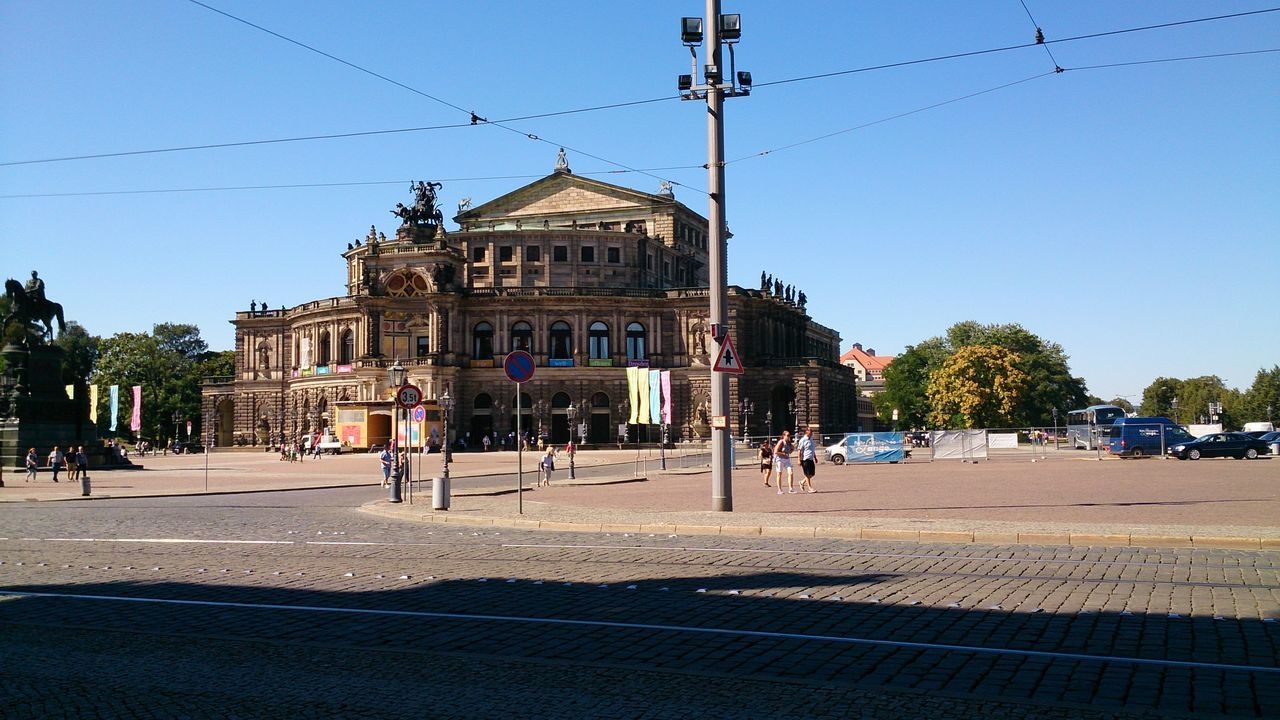 Architecture Built Structure Operahouse Street Clear Sky City Town Square Façade Blue Cable Outdoors Day In Front Of City Life History Dresden Germany Architecture Old Traveling Beautiful Taking Photos Tourist Beeing A Tourist Sightseeing