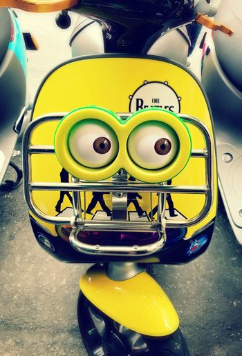 Yellow Close-up No People Day Scooter Electric Scooter Eyes Funny Tuned Taiwan Taipei,Taiwan Taipei Parking ASIA Asian  IPhoneography Shotoniphone7 Streetphotography Street Photography Like Human Big Eyes Paint The Town Yellow