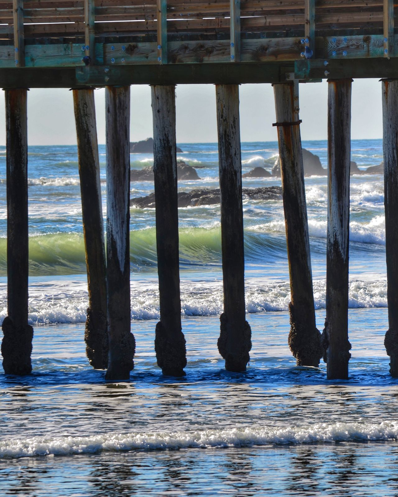 Local spot... Water Sea Pier Tranquil Scene Sky Beach Wood - Material Nature Day Tranquility Architectural Column Beauty In Nature Scenics No People Outdoors Underneath Waterfront California My Year My View EyeEm Gallery Nature California Coast Architecture Built Structure Horizon Over Water