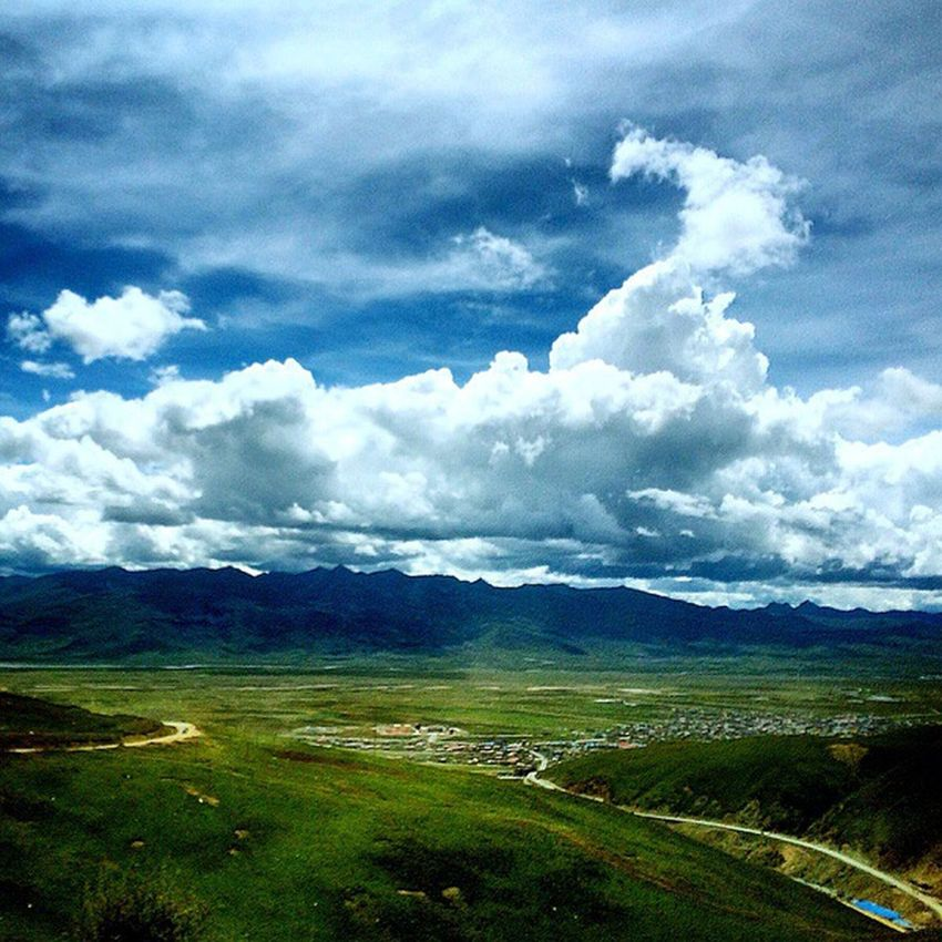 Tibet High Attitude  City City View  Clouds And Sky Clouds Green