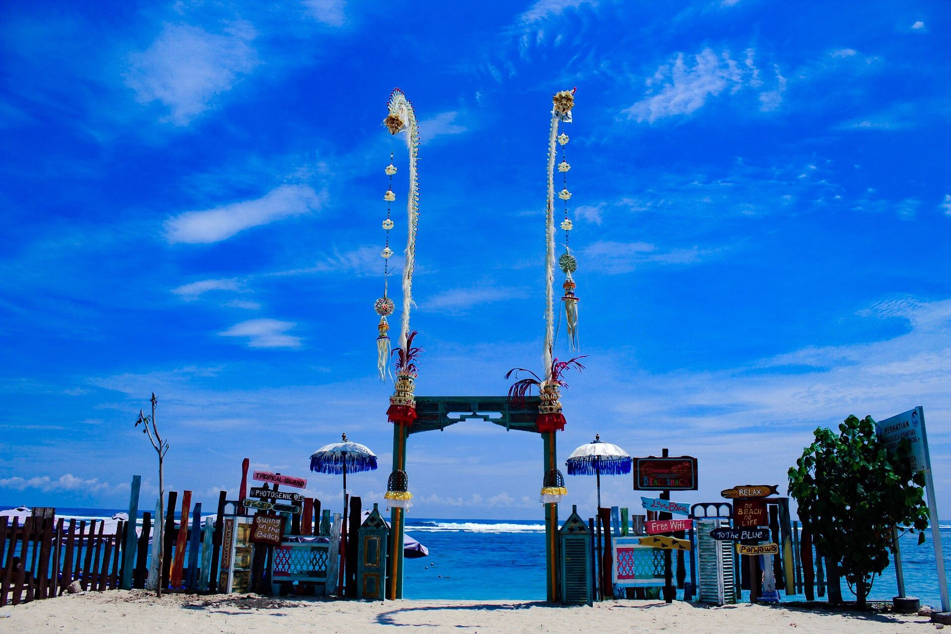 Beauty In Nature Sea Sky Water Blue Beach No People Scenics Outdoors Pantai Pandawa Bali Cloud - Sky Nature Day Amusement Park Built Structure Horizon Over Water Architecture