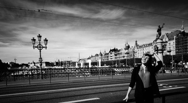 Monochrome Photography HuaweiP9 City Street Architecture Sky Road City Person Cloud - Sky Outdoors Day City Life Leicacamera Leica Lens Leica Black And White Stockholm Black & White