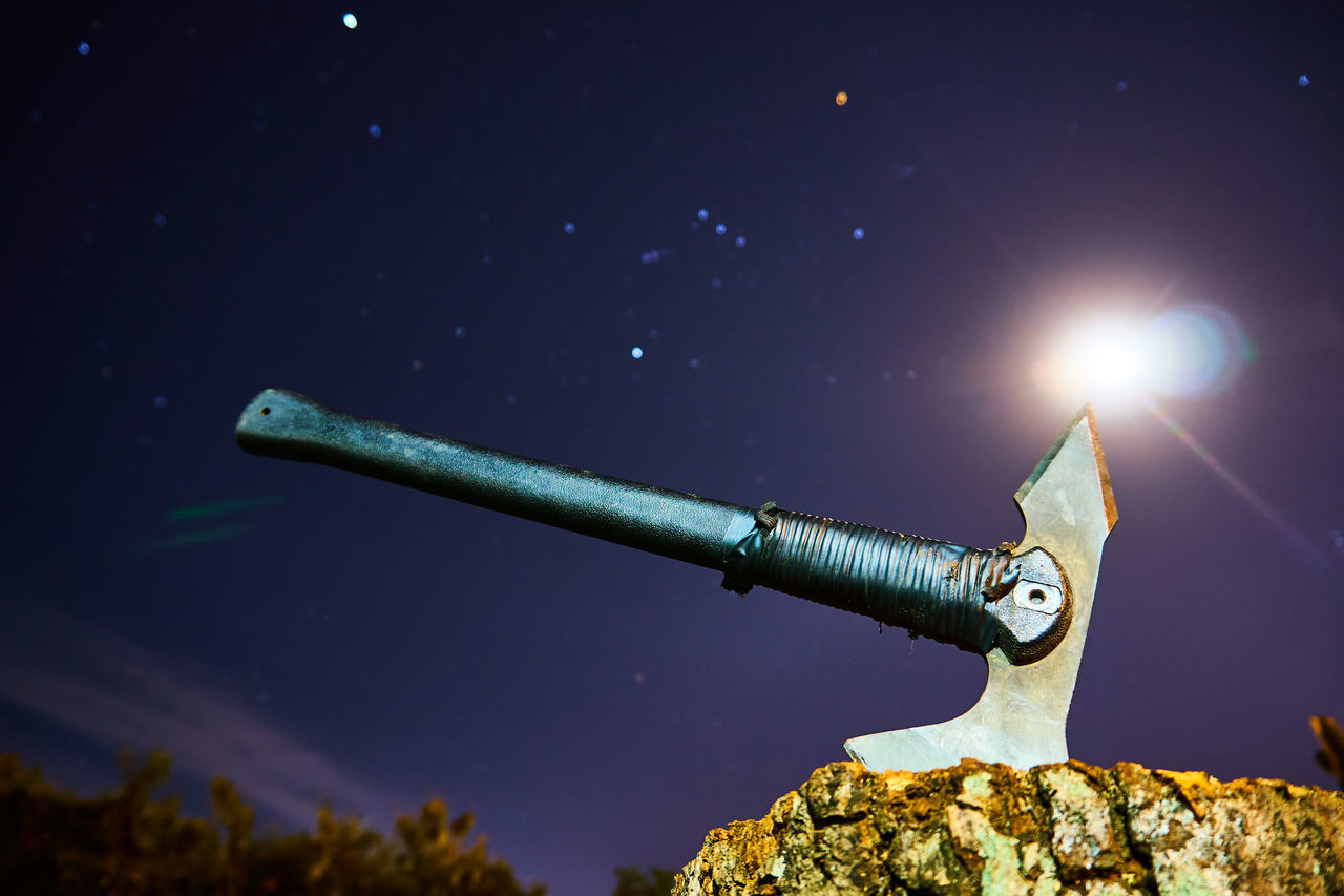 night, weapon, outdoors, no people, sky, star - space, astronomy, close-up